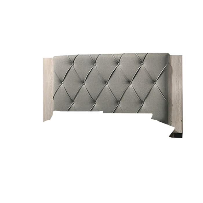 Wooden Eastern king Bed with Button Tufted Headboard, Gray and Cream