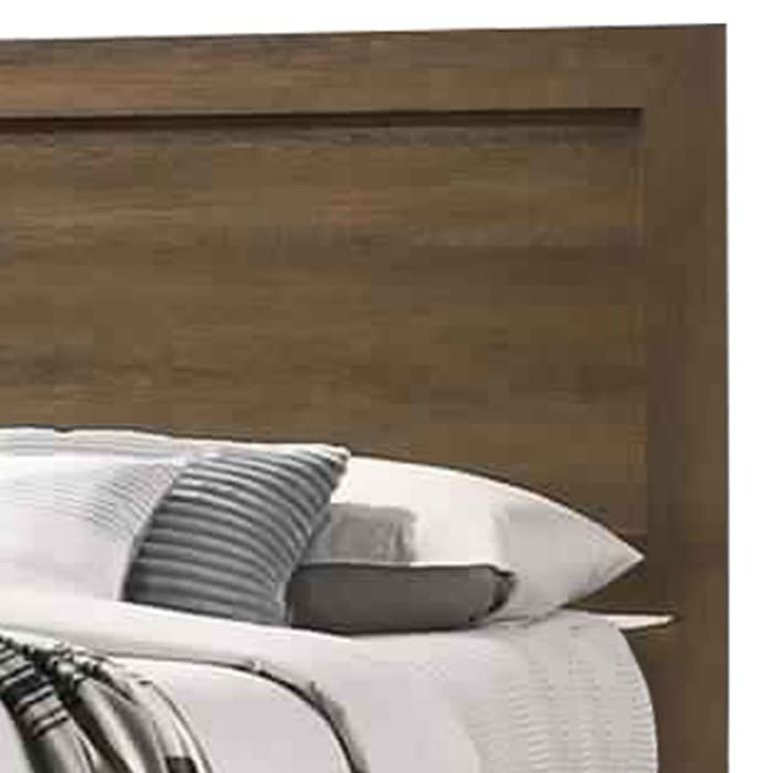 Wooden Queen Bed with Molded Trim Headboard and Chamfered Legs, Brown