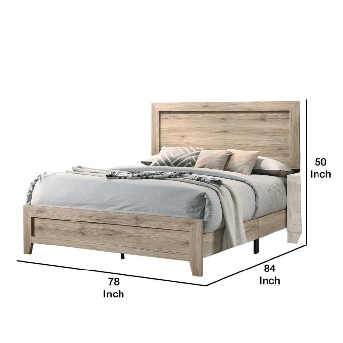 Wooden Eastern King Bed with Grains and Knots, Natural Brown