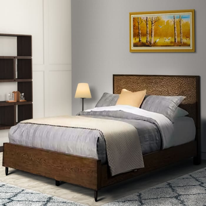 Queen Panel Bed with Textured Resin Headboard and Metal Legs, Brown