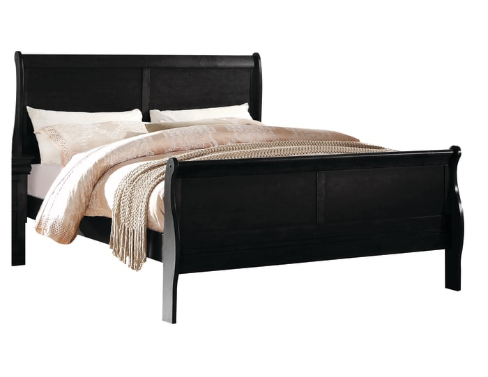 Wooden Twin Size Bed with Panel Design Sleigh Headboard and Footboard,Brown