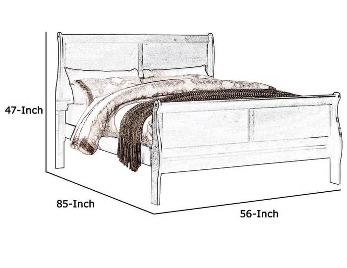 Wooden Full Bed with Panel Design Sleigh Headboard and Footboard, Brown