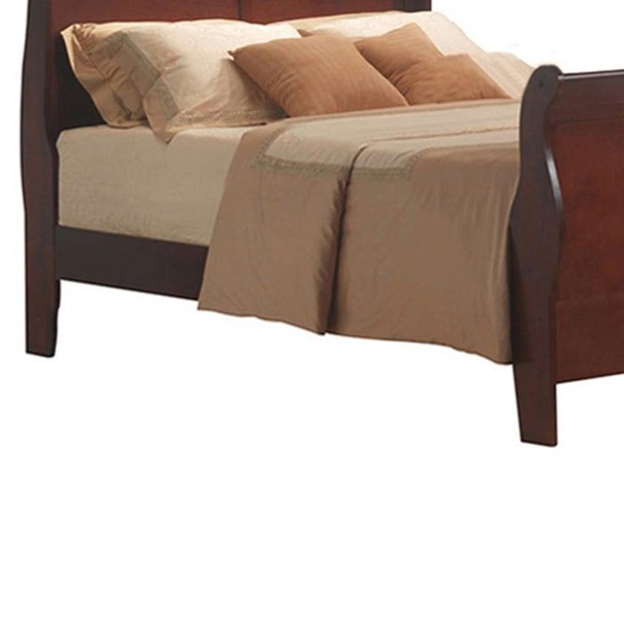 Wooden Full Size Bed with Slat Kit, Brown