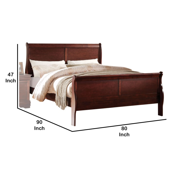 Transitional Panel Design Sleigh Eastern King Size Bed, Cherry Brown