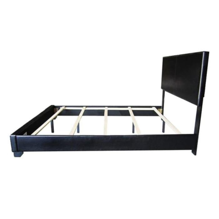 Full Size Bed with Leatherette Padded Headboard and Footboard, Black