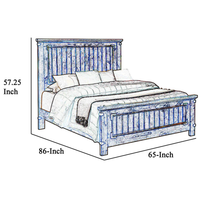 Cottage Style Queen Size Bed with Plank Detailing and Metal Accents, Brown