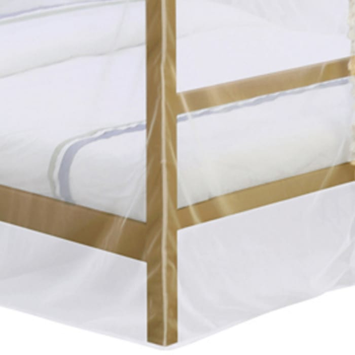 Twin Size Metal Canopy Bed with Sheer Net and Overhead LED Lighting, Gold
