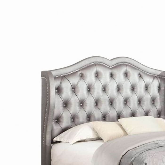 Leatherette Button Tufted Queen Bed with Wingback Headboard, Silver