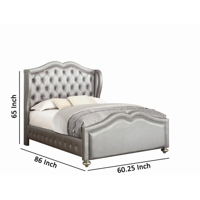 Leatherette Button Tufted Full Bed with Wingback Headboard, Silver