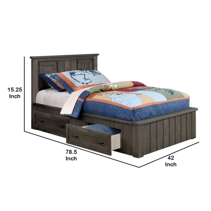 Transitional Style Wooden Twin Size Bed with Side Drawers, Gray