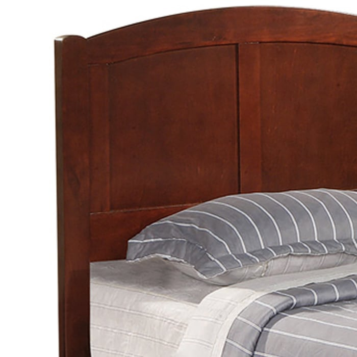 Wooden Twin Size Bed with Panelled Headboard and Footboard, Brown