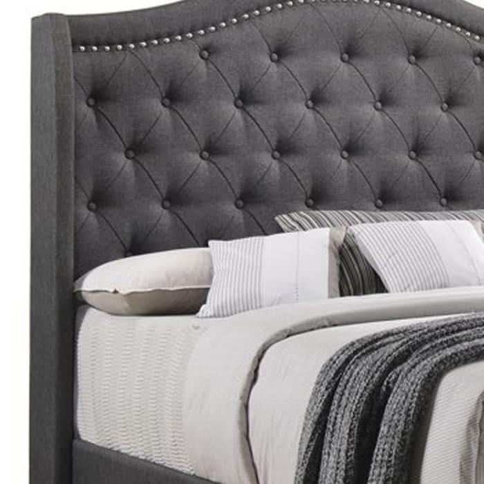 Fabric Upholstered Wooden Demi Wing Queen Bed with Camelback Headboard,Gray