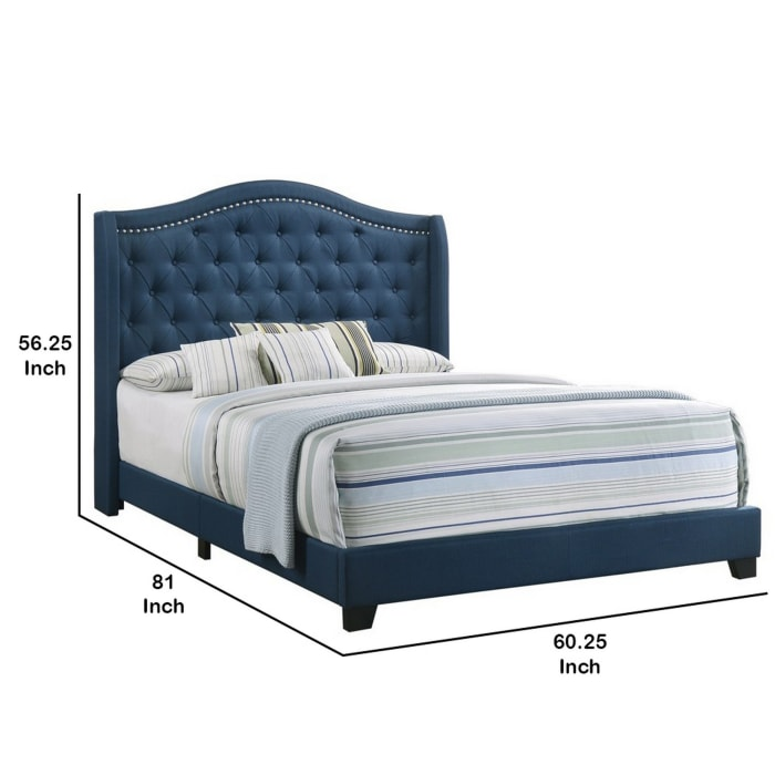 Fabric Upholstered Wooden Demi Wing Full Bed with Camelback Headboard, Blue
