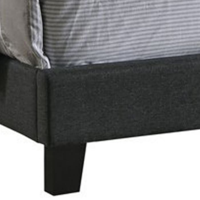 Fabric Upholstered Wooden Queen Size Bed with Nailhead Trims, Gray