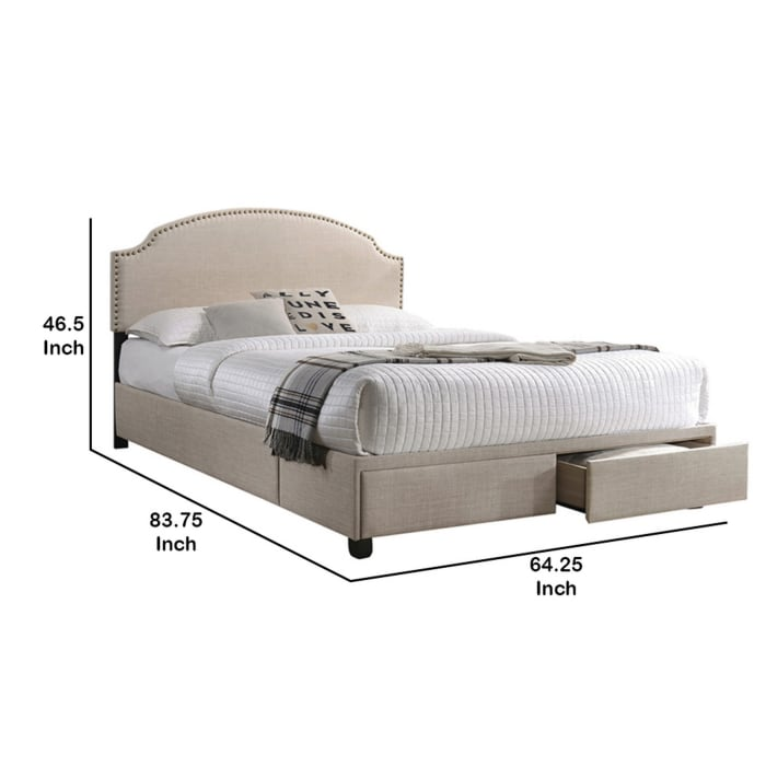 Fabric Upholstered Queen Size Storage Bed with Nailhead Trims, Beige