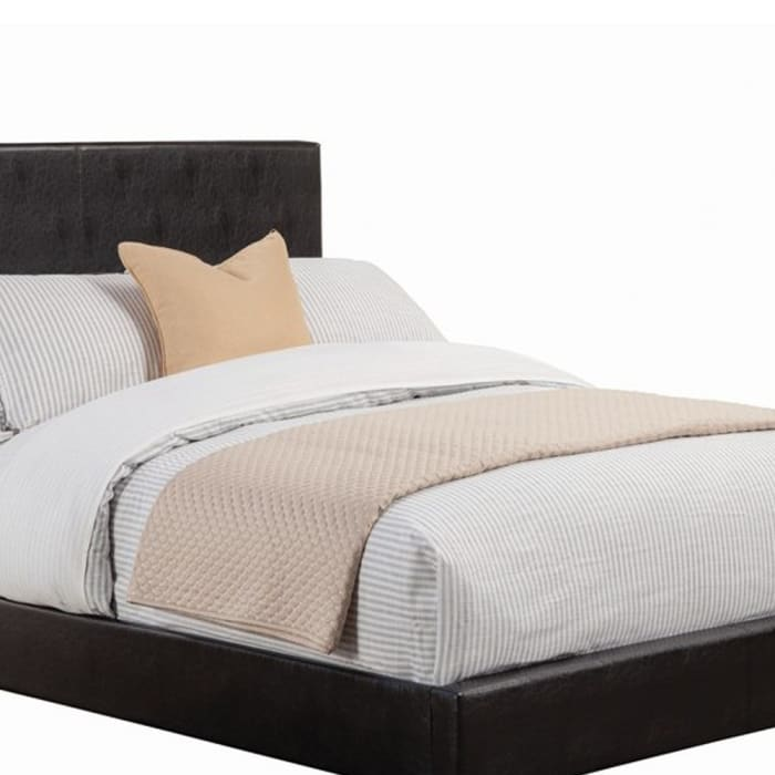 Contemporary Style Leatherette California King Size Panel Bed, Black