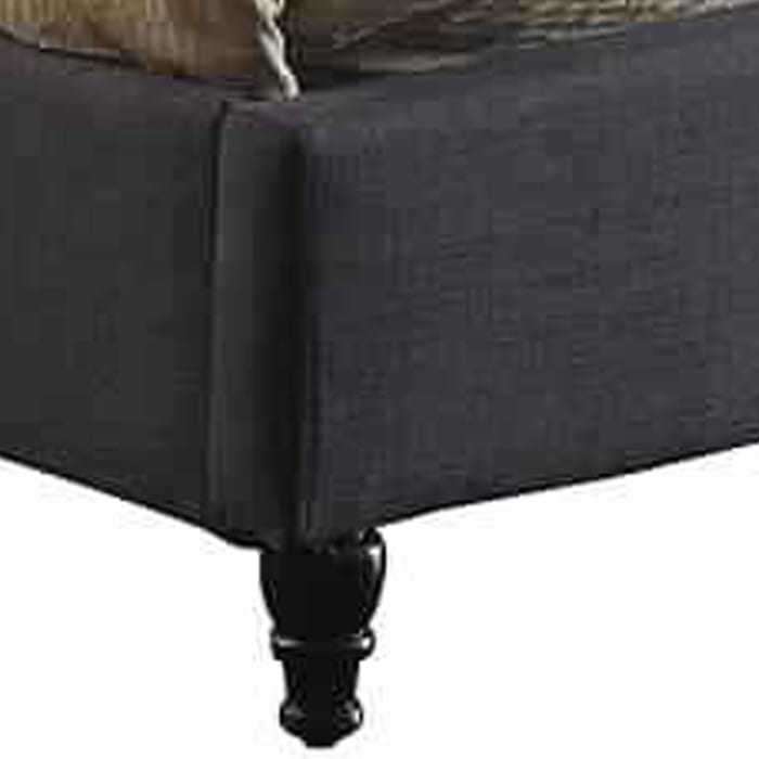Button Tufted Wingback Eastern King Bed with Nailhead Trims, Dark Gray