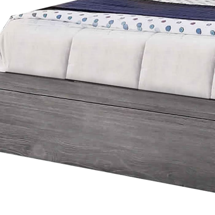 Transitional Style Wooden California King Size Bed with Grain Details, Gray