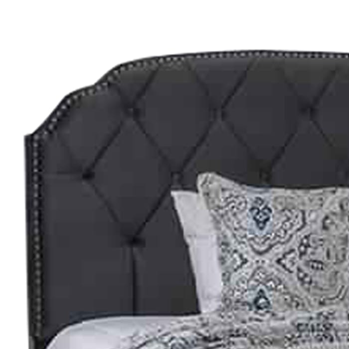 Fabric Queen Size Bed with Camelback Headboard and Nailhead Trim, Gray