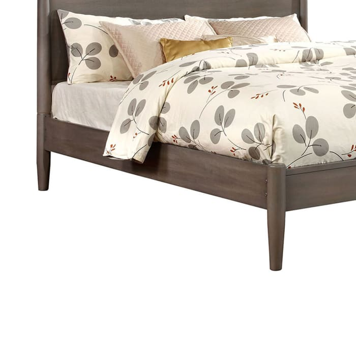 Transitional Wooden Full Bed with Round Tapered Legs and Headboard, Gray