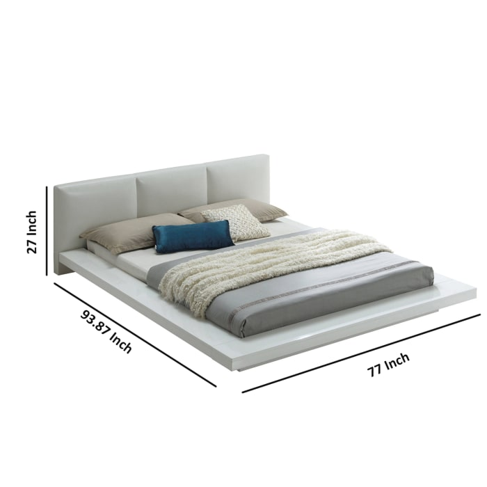 Wooden Queen Size Low Profile Bed with Padded Headboard, White