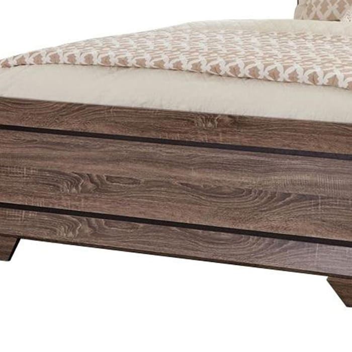 Transitional Style California King Bed with Plank Headboard, Taupe Brown