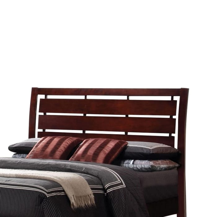 Transitional California King Size Wooden Bed with Slatted Headboard, Brown