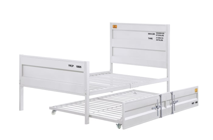 Industrial Style Metal Twin Size Bed with Straight Leg Support, White