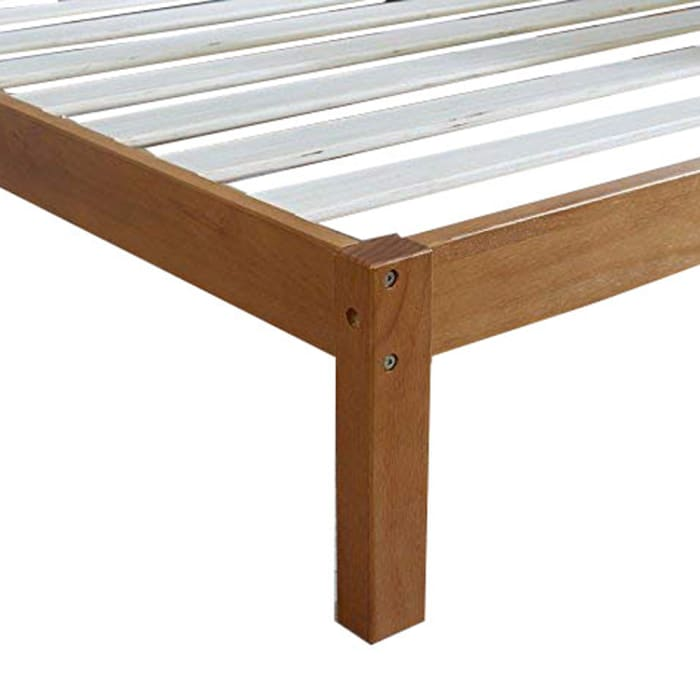 Queen Size Anti Skid Wooden Bed Frame with Headboard, Natural Brown