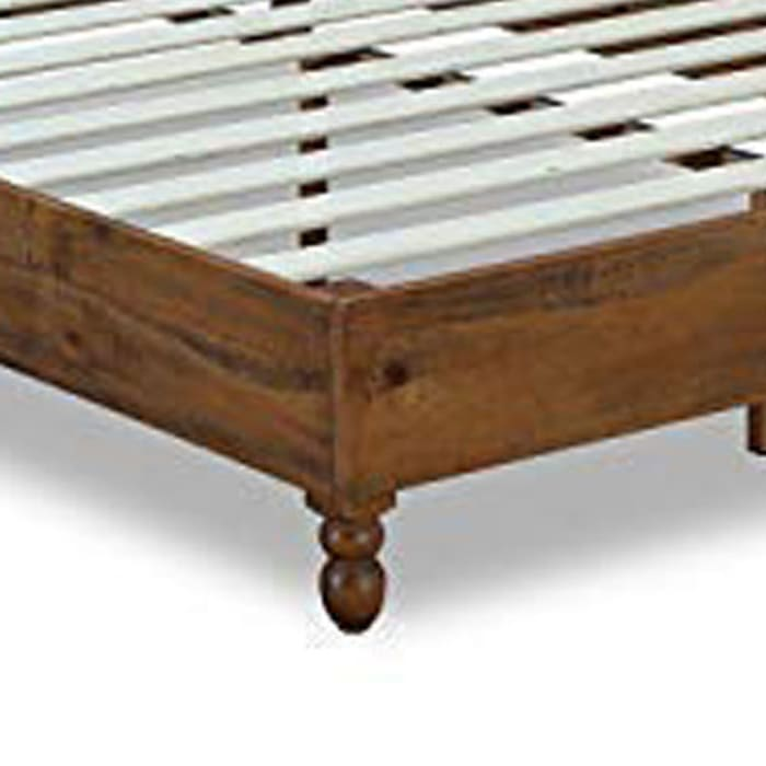 Slatted Full Size Wooden Bed Frame with Turned Legs, Natural Brown