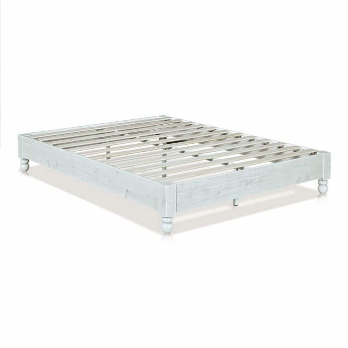 Wooden Queen Size Bed Frame with Turned Legs and Slated Details, White