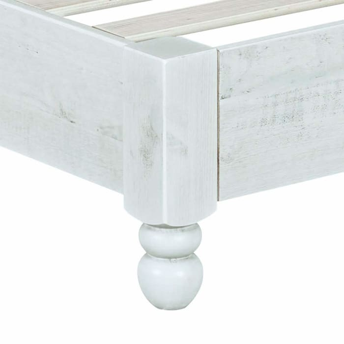 Wooden Full Size Bed Frame with Turned Legs and Slated Details, White
