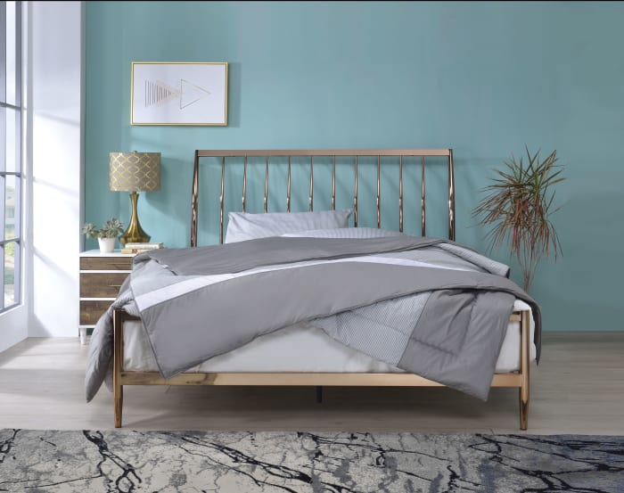 Industrial Metal Queen Bed with Tapered Legs and Slated Headboard, Copper