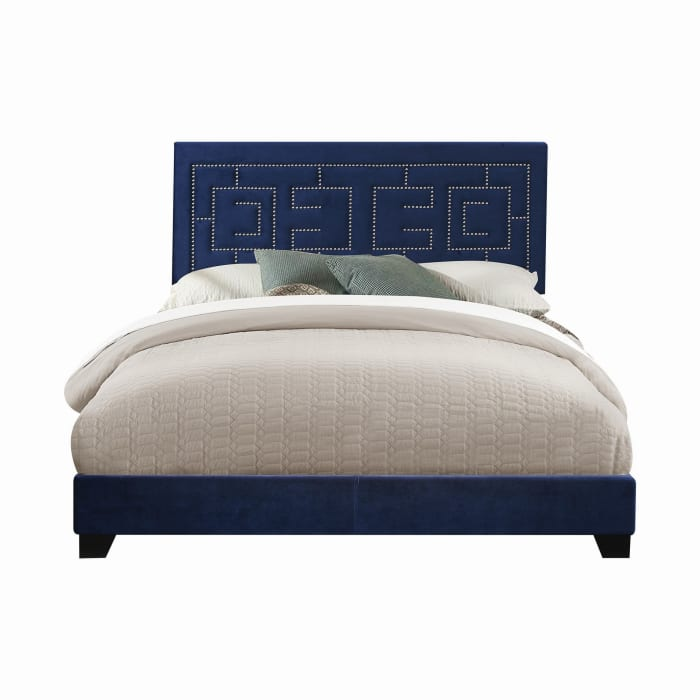 Transitional Fabric Upholstered Queen Bed with Block Legs and Nail Head Trims, Blue