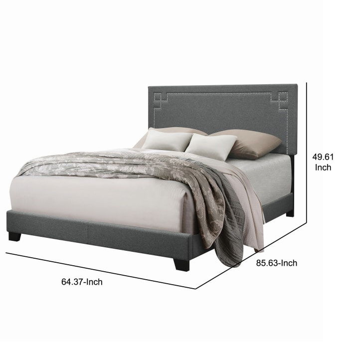 Transitional Fabric Upholstered Queen Bed with Block Legs and Nail Head Trims, Gray
