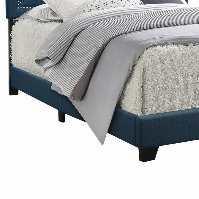 Padded Queen Panel Bed with Nailhead Trim, Teal Blue