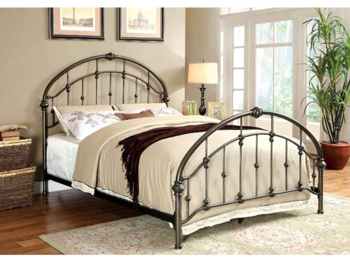 Contemporary Metal Full Bed With Round Headboard And Footboard, Brushed Bronze Gray