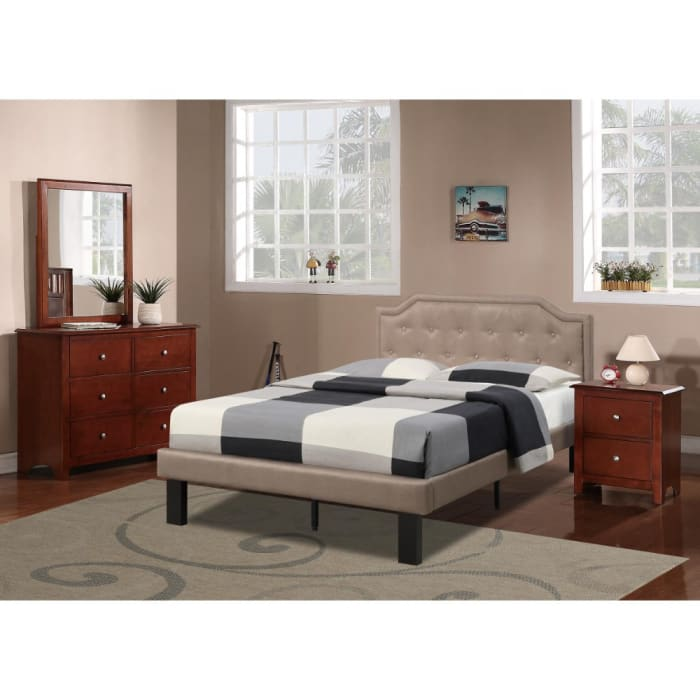 Stunning Upholstered Wooden Full Bed With Button Tufted Headboard, Tan