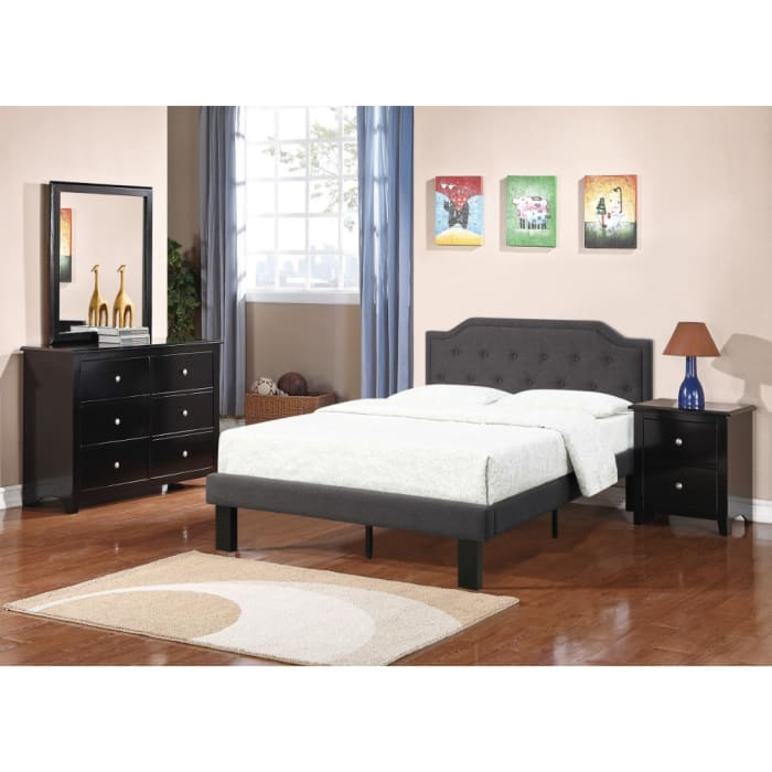Glorious Upholstered Wooden Full Bed With Button Tufted Headboard, Ash Black