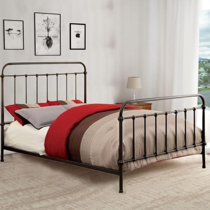 Metal Queen Size Platform Bed with Headboard & Footboard, Deep Bronze