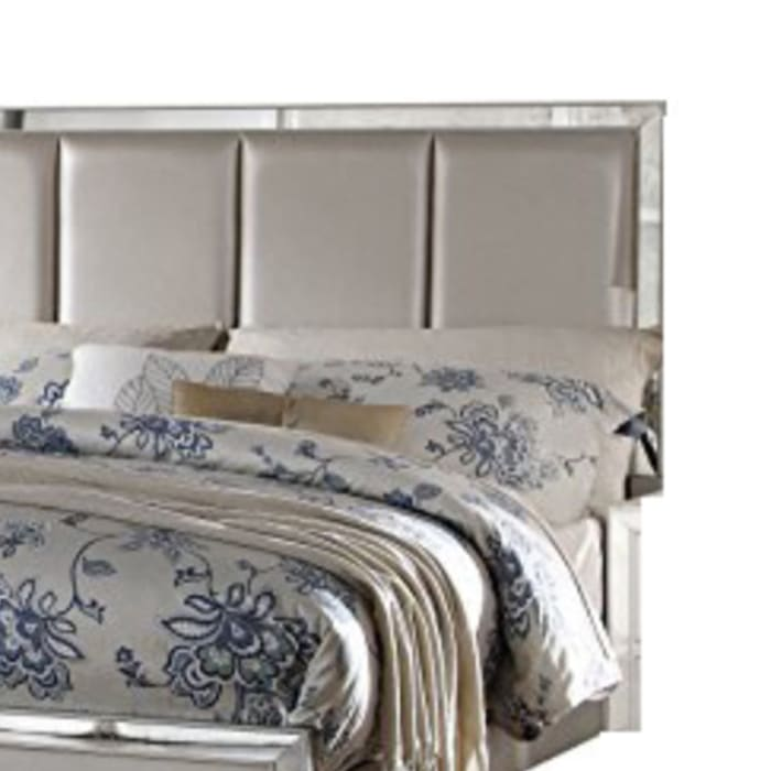 Contemporary Style Elegant Queen Size Bed With Padded Headboard, Gold
