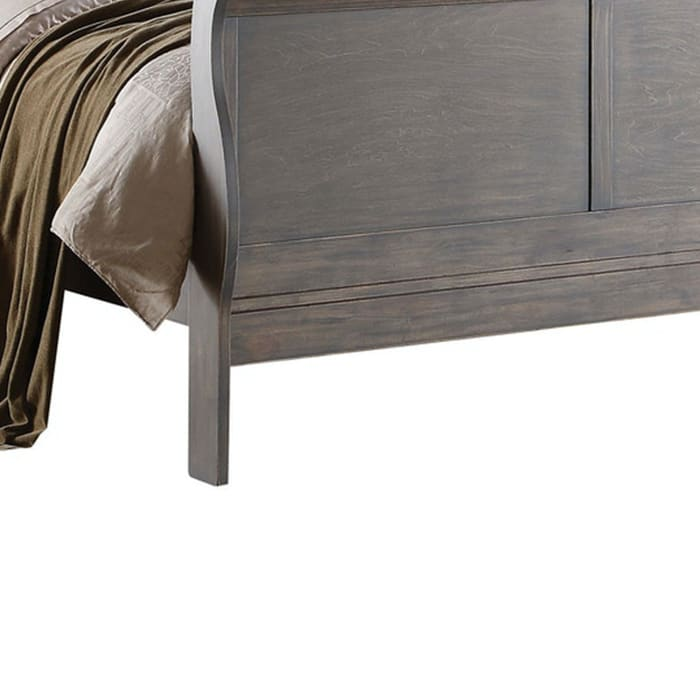 Classy Transitional Style Queen Size Sleigh Bed, Grey