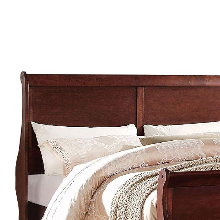 Transitional Style Wooden Queen Size Sleigh Bed, Brown