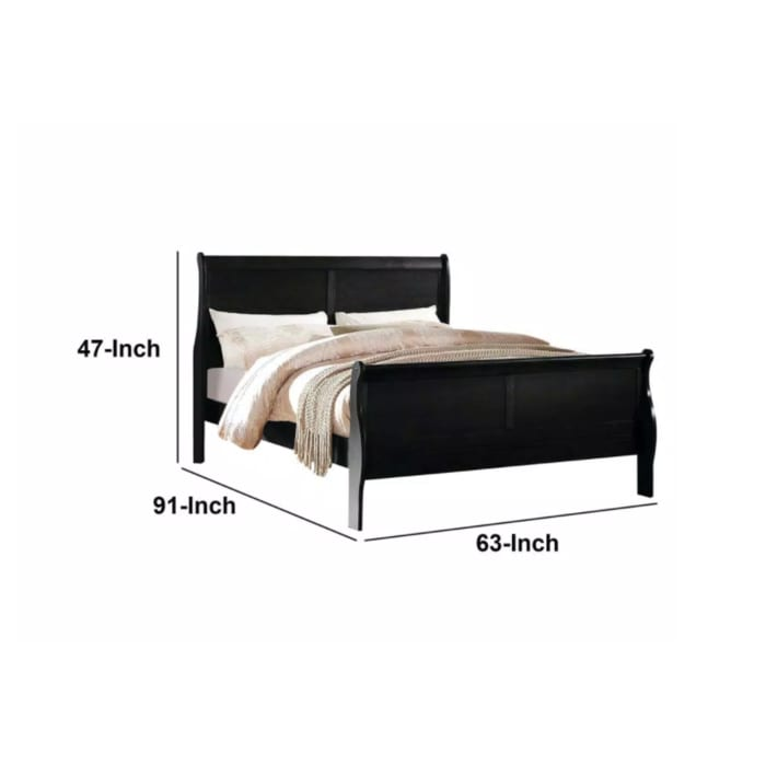 Elegant Modern Style Queen Size Sleigh Bed, Black
