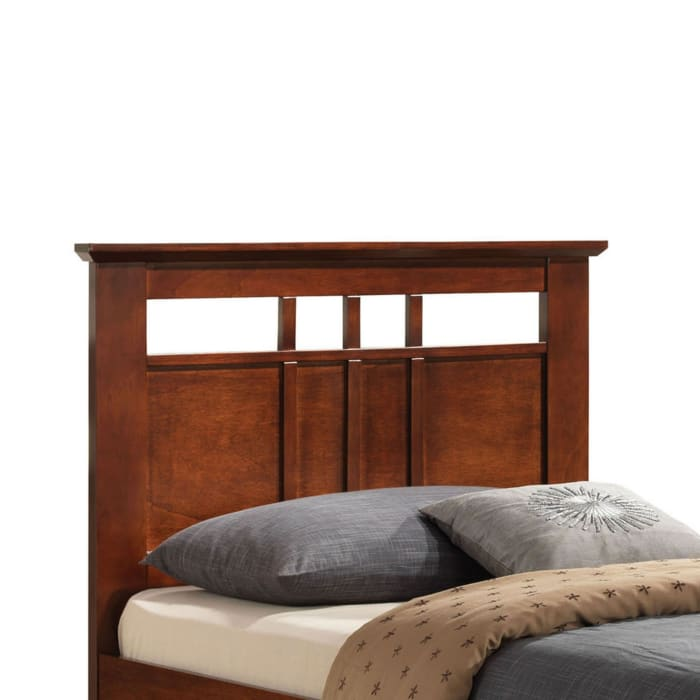 Transitional Style Wooden Twin Bed With Paneled Headboard, Brown