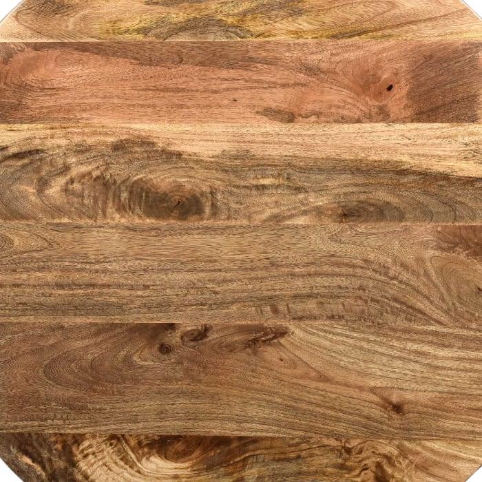Mango Wood Coffee Table In Round Shape, Dark Brown