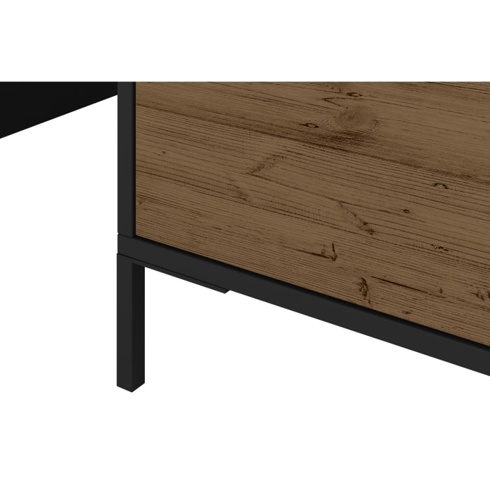 Wood and Metal Rectangular Accent Coffee Table with Drawer, Brown and Black