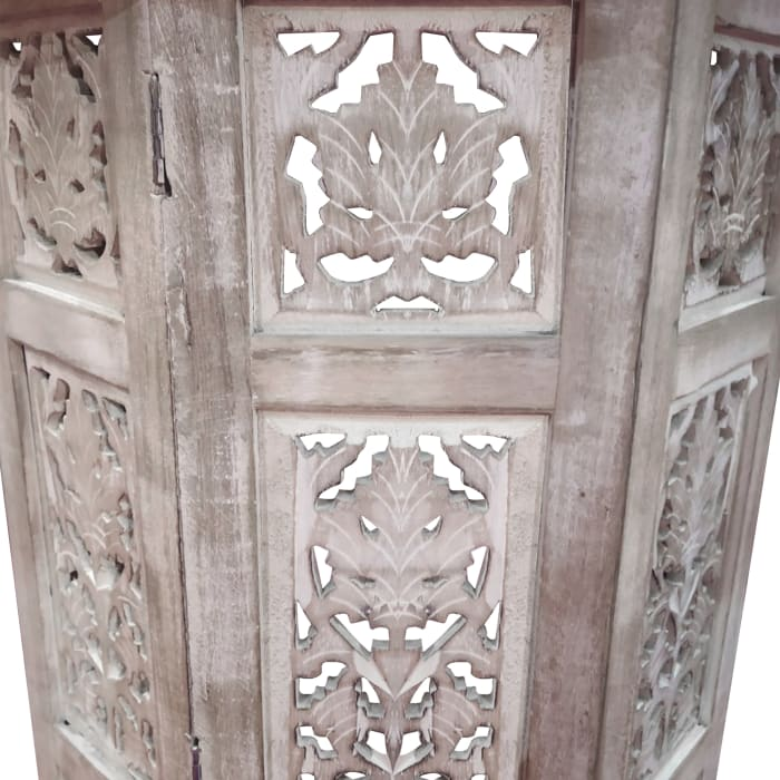The Urban Port Wooden Hand Carved Folding Accent Coffee Table, White