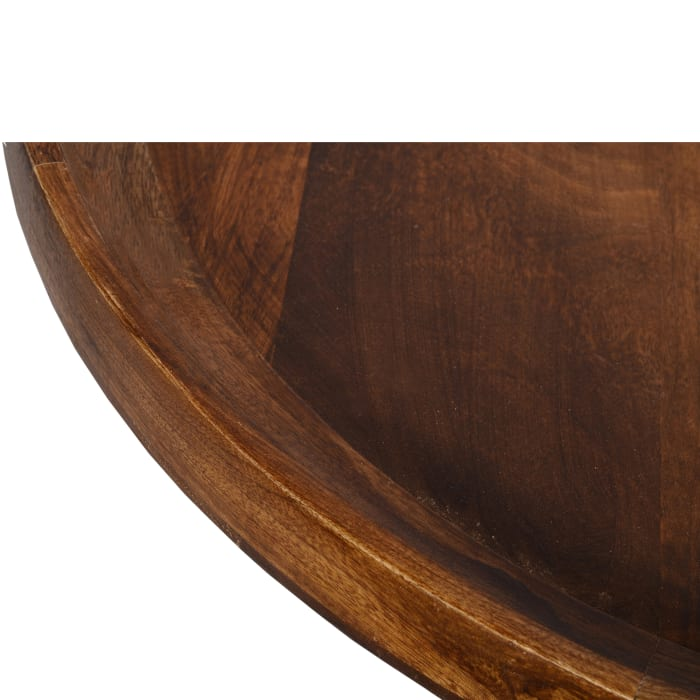 Round Mango Wood Coffee Table With Splayed Metal Legs, Brown and Black