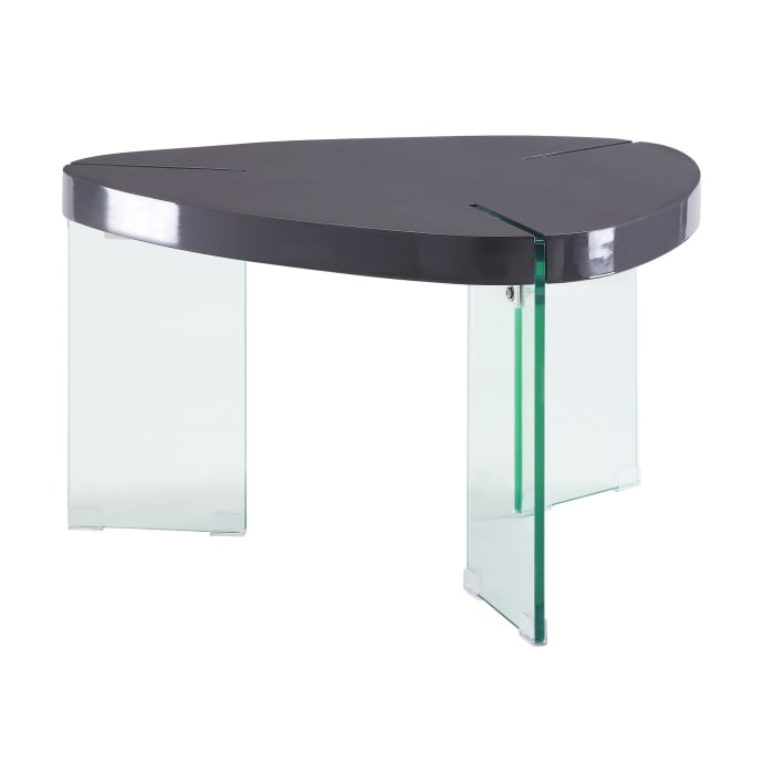 30 Inches Plectrum Top Coffee Table with Glass Legs, Gray